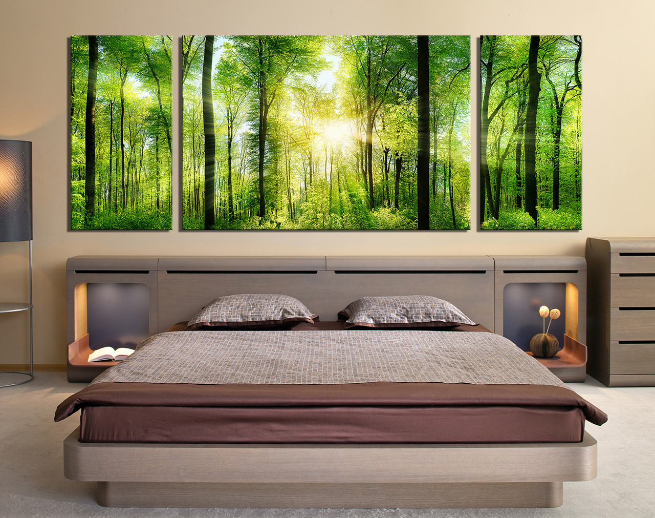 3 Piece Canvas Wall Art, Bedroom Large Canvas, Scenery Canvas Photography,  Green Multi