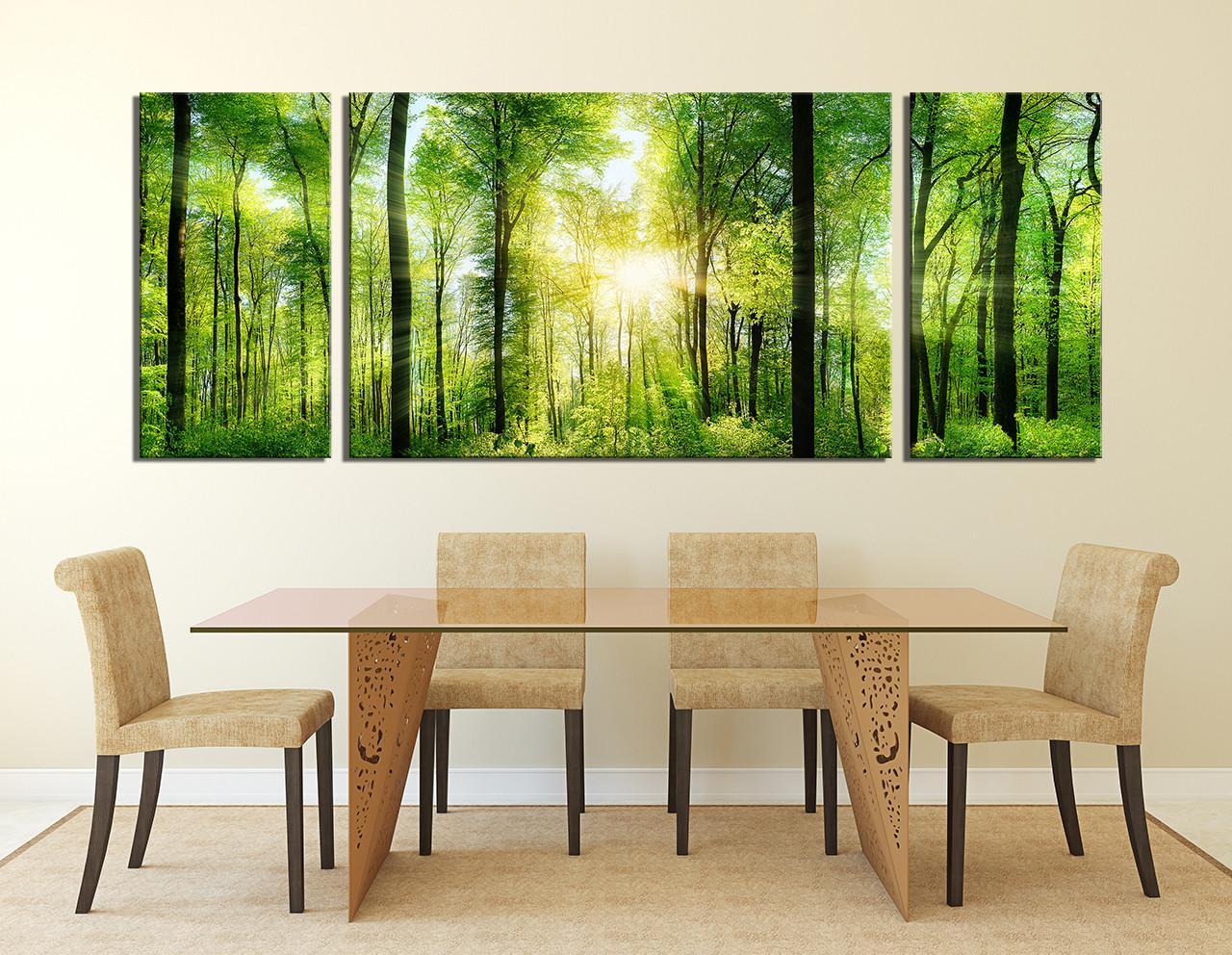 3 Piece Wall Decor Panoramic Huge Canvas Print Sunshine