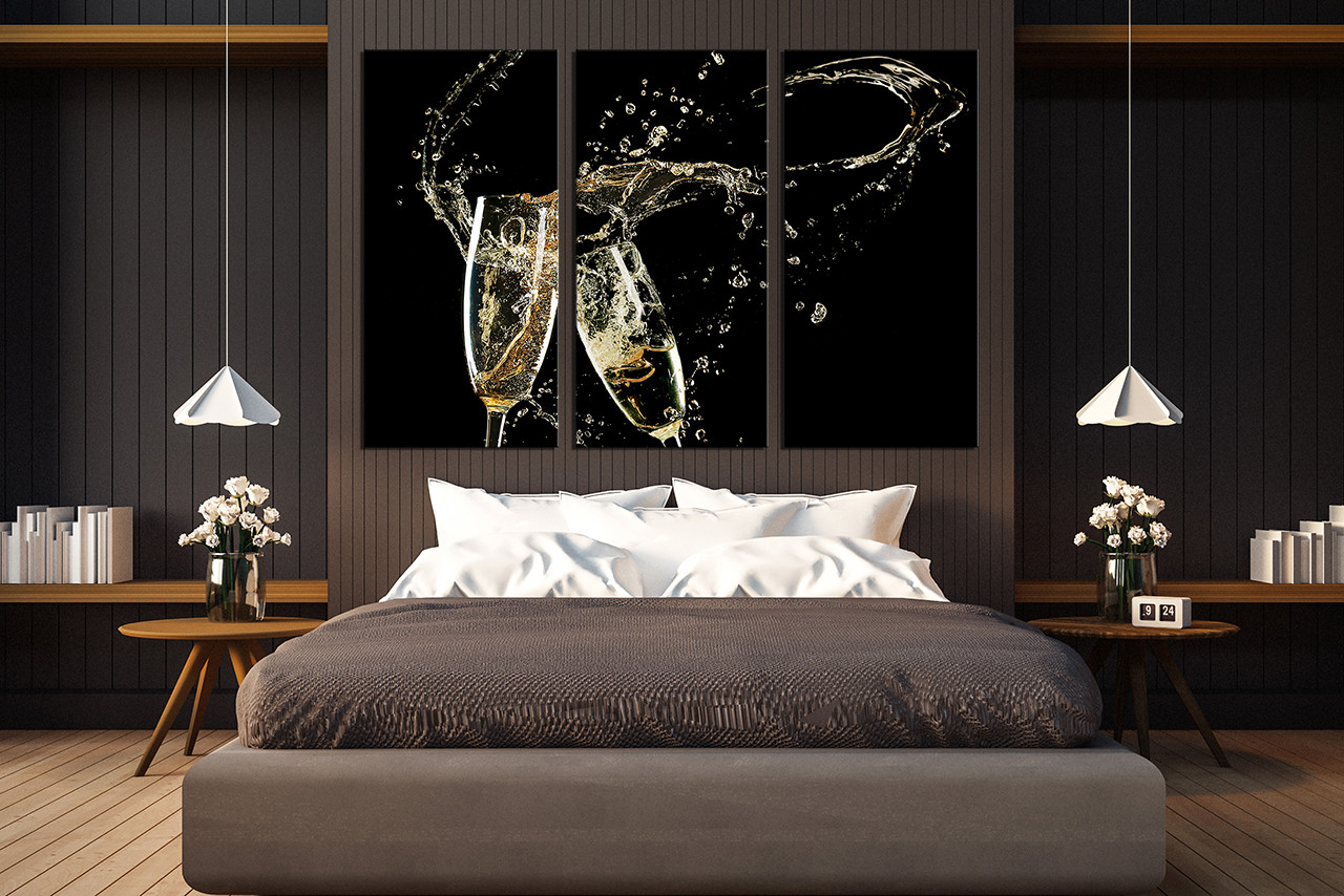3 Piece Canvas Wall Art, Bedroom Wall Decor, Champagne Multi Panel Canvas,  Kitchen