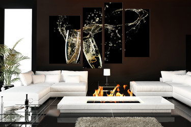 4 piece wall art, living room wall art, kitchen multi panel art, champagne large pictures, drink landscape photo canvas