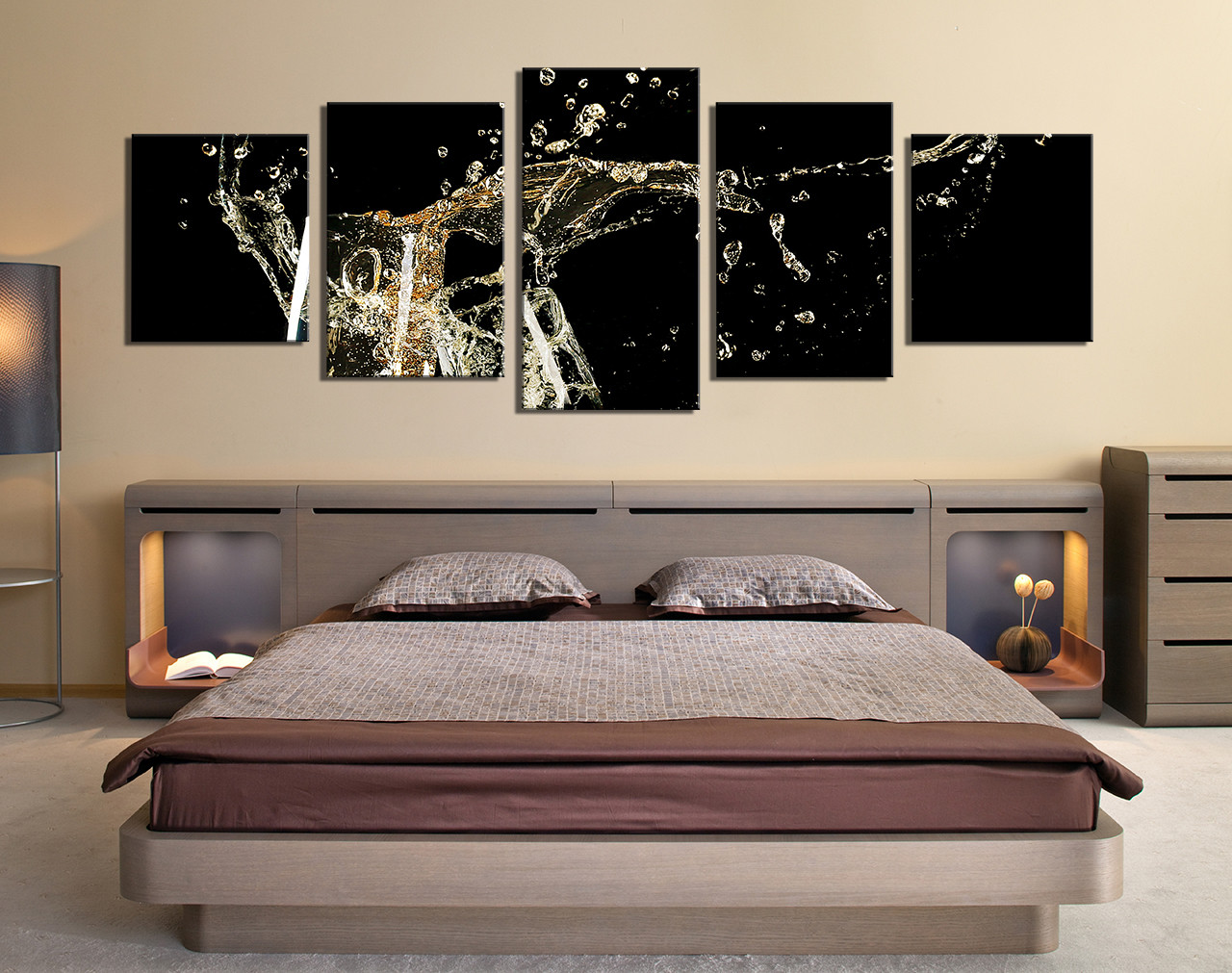 Multi Panel Canvas Wall Art 5 piece wall decor, panoramic huge canvas print, champagne multi