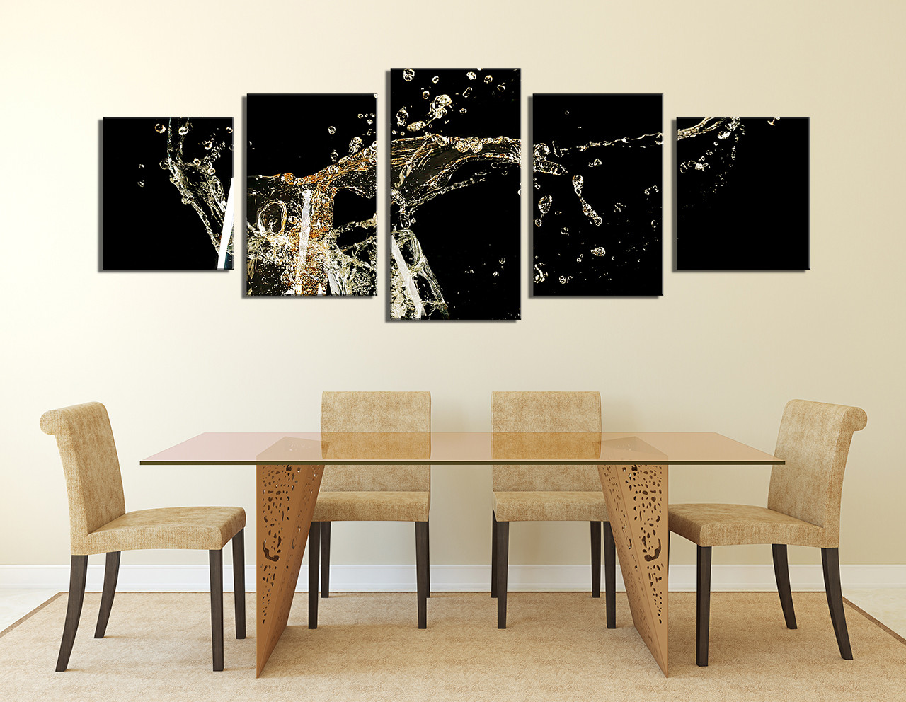 Kitchen Canvas Wall Art 5 piece wall decor, panoramic huge canvas print, champagne multi