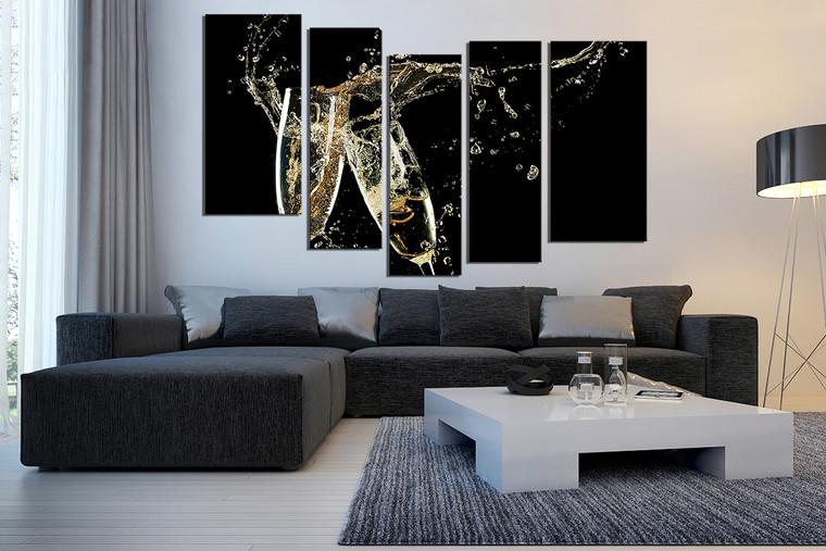 5 Piece Canvas Art Prints, Champagne Multi Panel Art, Flute Glasses Canvas  Photography, Drinks Canvas Print, Black Canvas Wall Art
