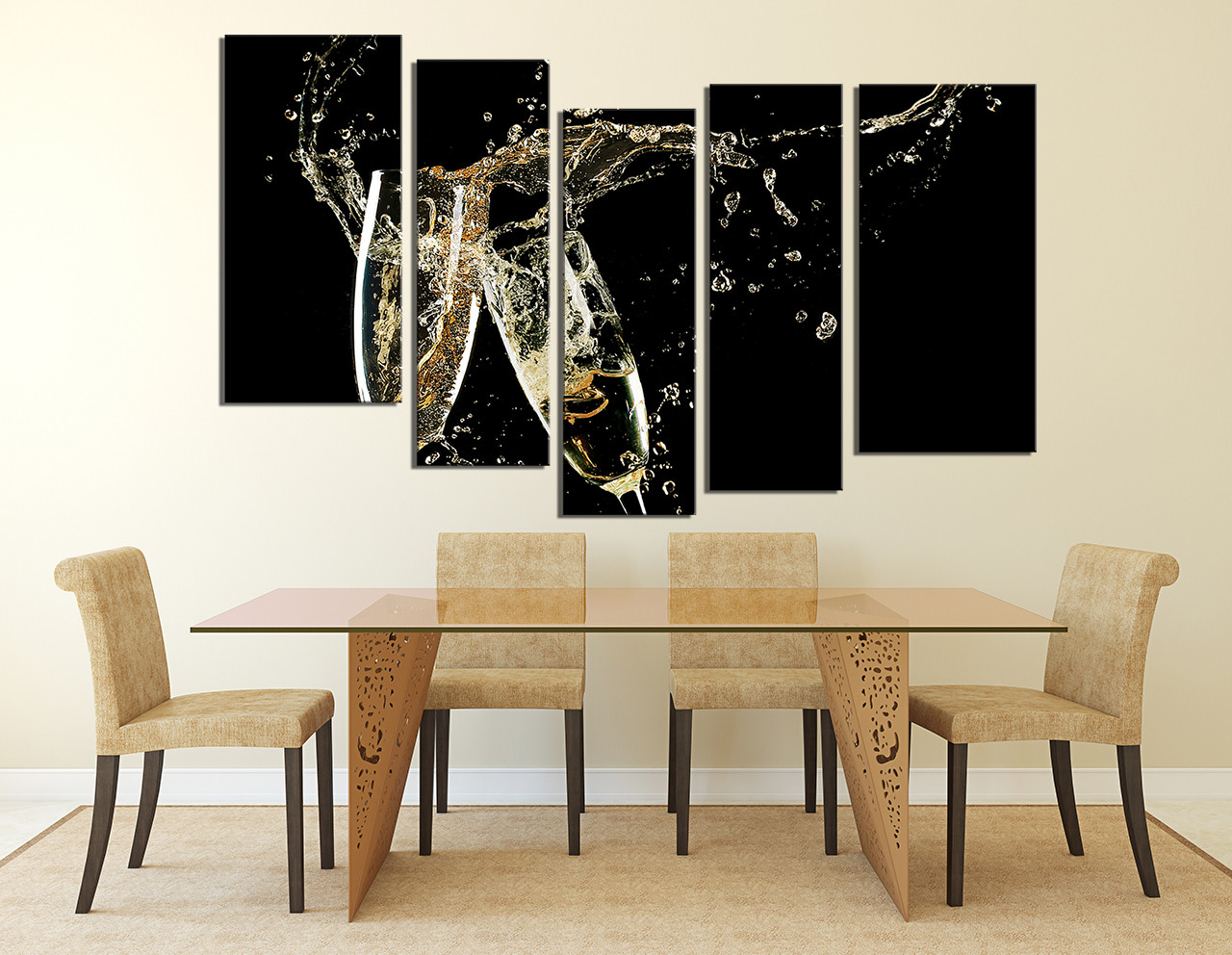 5 Piece Wall Art, Home Decor, Dining Room Wall Decor, Kitchen Canvas Art