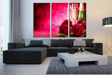 3 piece wall art, kitchen multi panel art, living room wall art, champagne large pictures, floral landscape photo canvas
