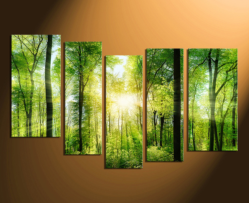 5 Piece Canvas Wall Art, Scenery Canvas Print, Green Canvas .