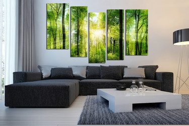 5 piece multi panel canvas, living room art, scenery huge canvas art, green wall decor, tree canvas art prints