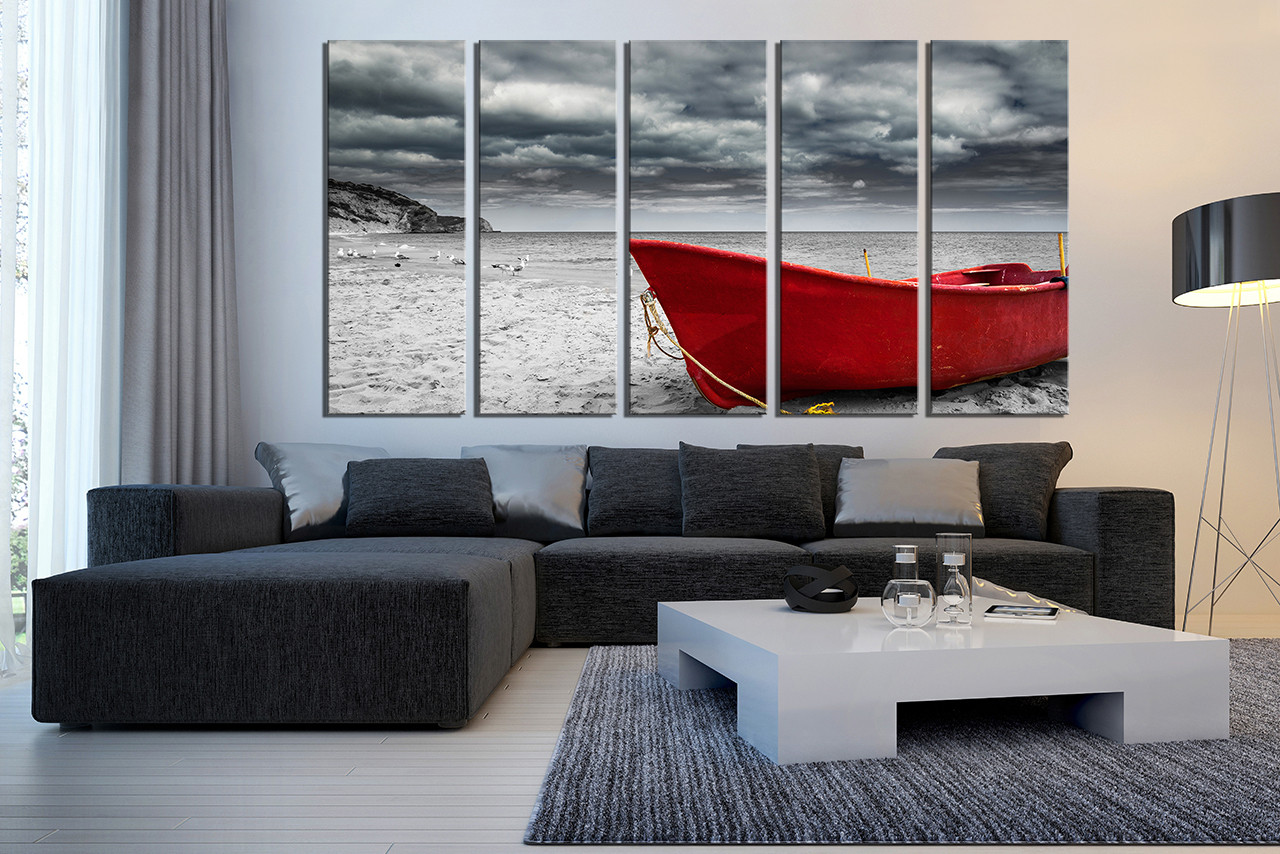 5 Piece Huge Canvas Art, Grey Ocean Multi Panel Art, Red Boat Wall Art
