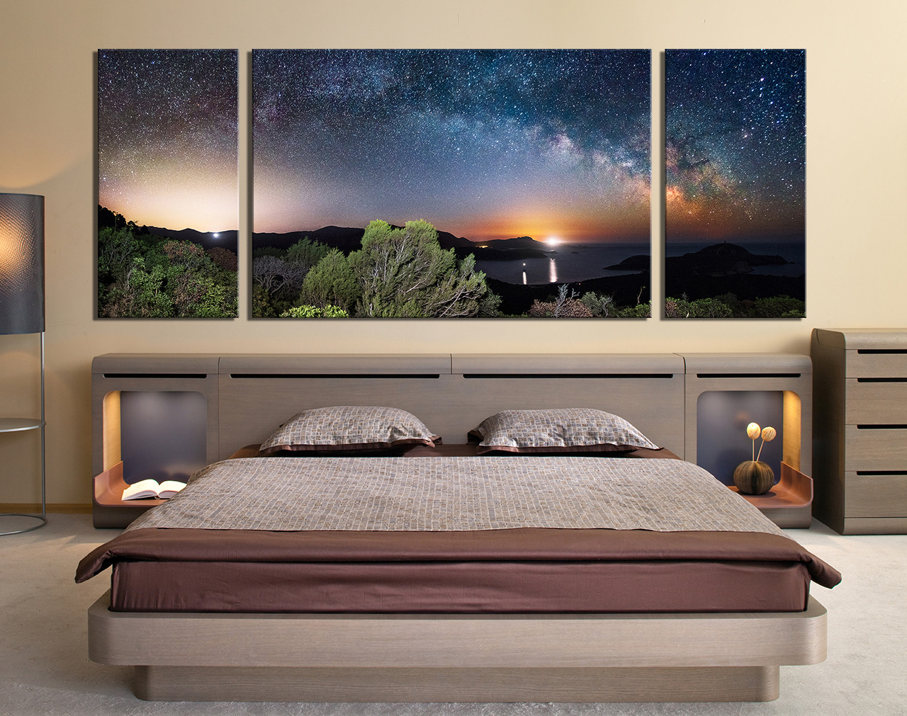 3 Piece Canvas Wall Art Panoramic Wall Decor Scenery Canvas Photography Blue Group Canvas