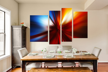 4 piece canvas art prints, dining room large pictures, abstract huge pictures, abstract red art, modern canvas wall art