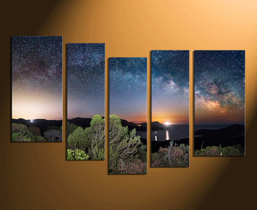 5 Piece Canvas Art Prints, Blue Canvas Wall Art, Stars Huge Canvas ...