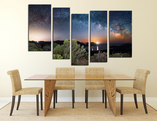5 piece group canvas, dining room artwork, scenery multi panel art, blue art, stars huge pictures