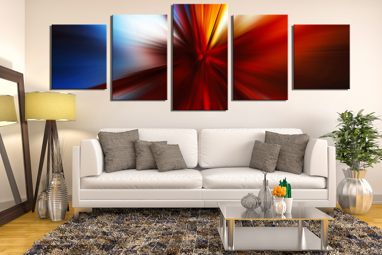 5 piece canvas photography living room wall art red wall art modern canvas - Canvas Wall Decor