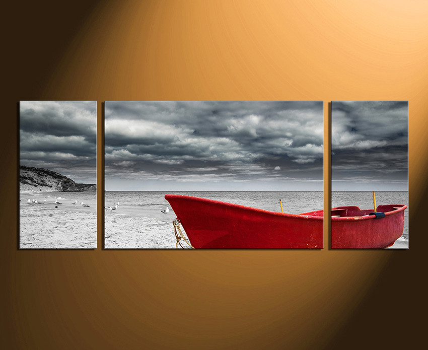 Panoramic Wall Art 3 piece wall decor, panoramic multi panel, red boat large pictures