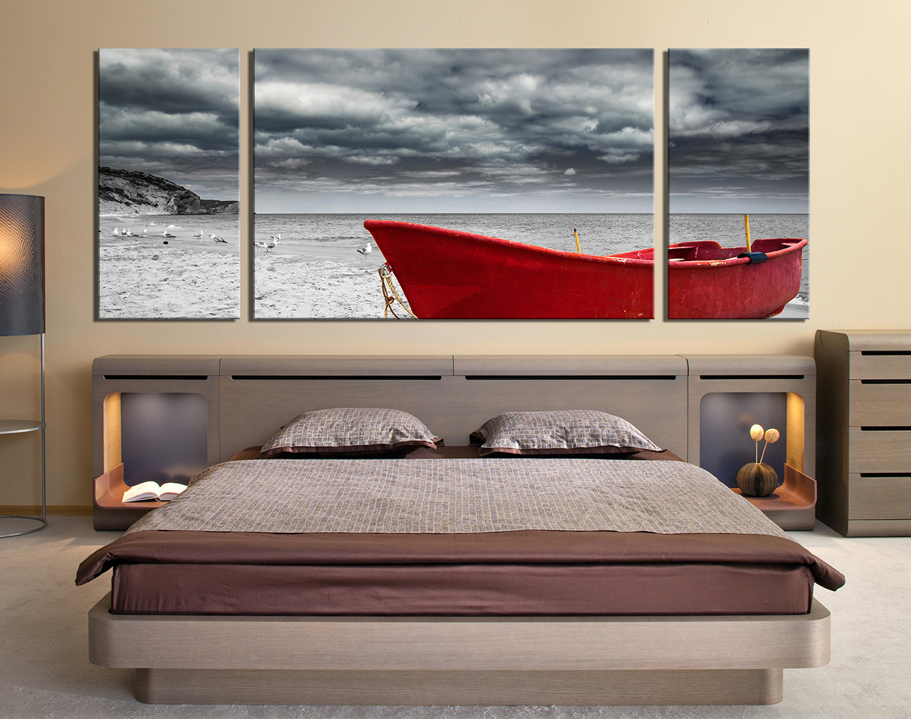 Red Black And Gray Wall Decor: 3 Piece Wall Decor, Panoramic Multi Panel, Red Boat Large