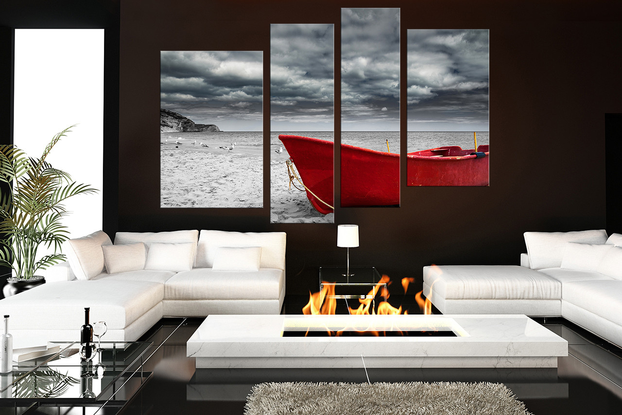 4 Piece Large Pictures Red Boat Canvas Photography Black and White