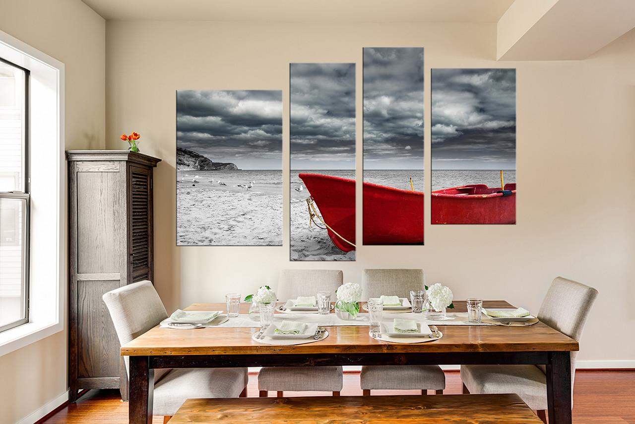 4 Piece Canvas Art Prints, Ocean Art, Boat Photo Canvas, Grey Wall Decor