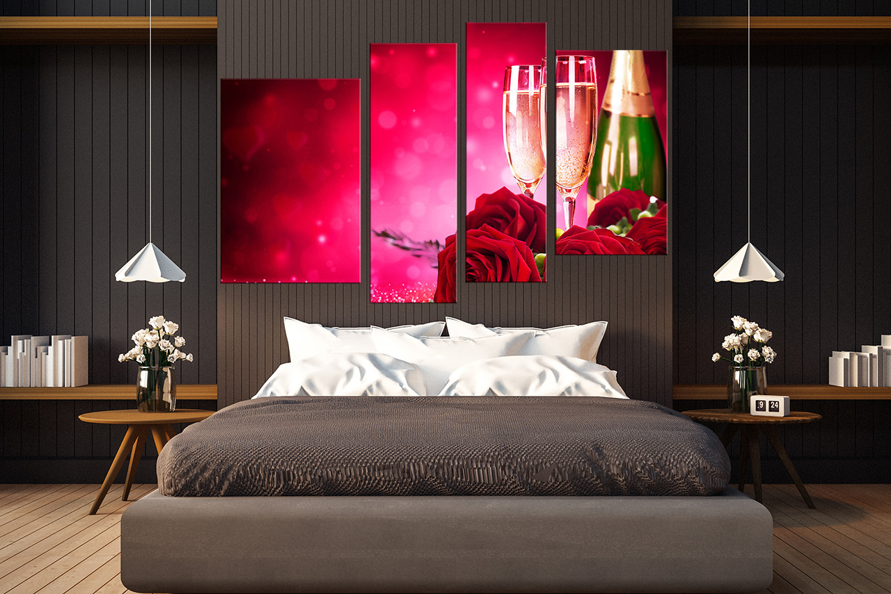 Rose Wall Decor 4 piece canvas photography, rose multi panel canvas, red huge