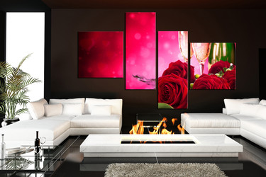 4 piece group canvas, living room canvas print, champagne canvas photography, red floral canvas wall decor