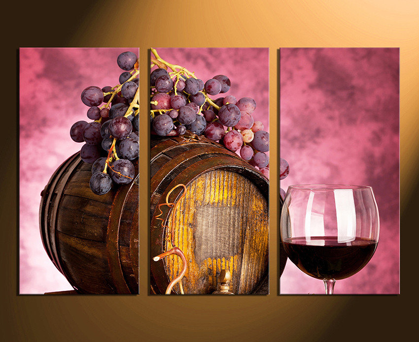 3 Piece Large Pictures, Wine Artwork, Grapes Wall Decor, Barrel ...