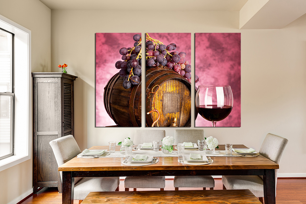 Wine Wall Decor 3 piece large pictures, wine artwork, grapes wall decor, barrel