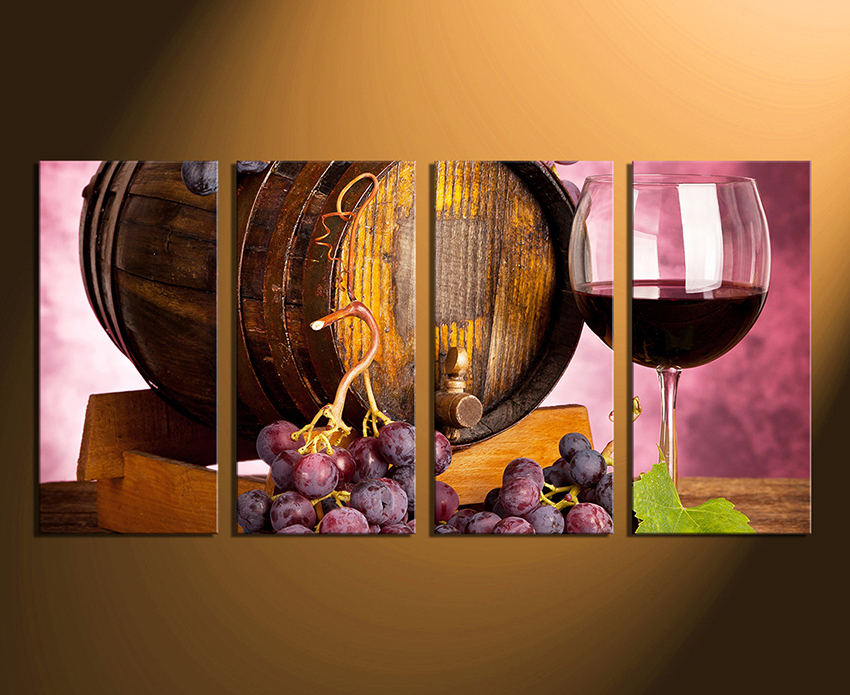 4 piece canvas wall art home decor wine multi panel art kitchen canvas : wine canvas wall art - www.pureclipart.com