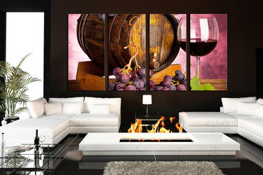 4 piece wall art, living room wall art, kitchen multi panel art, grapes large pictures, red wine canvas prints