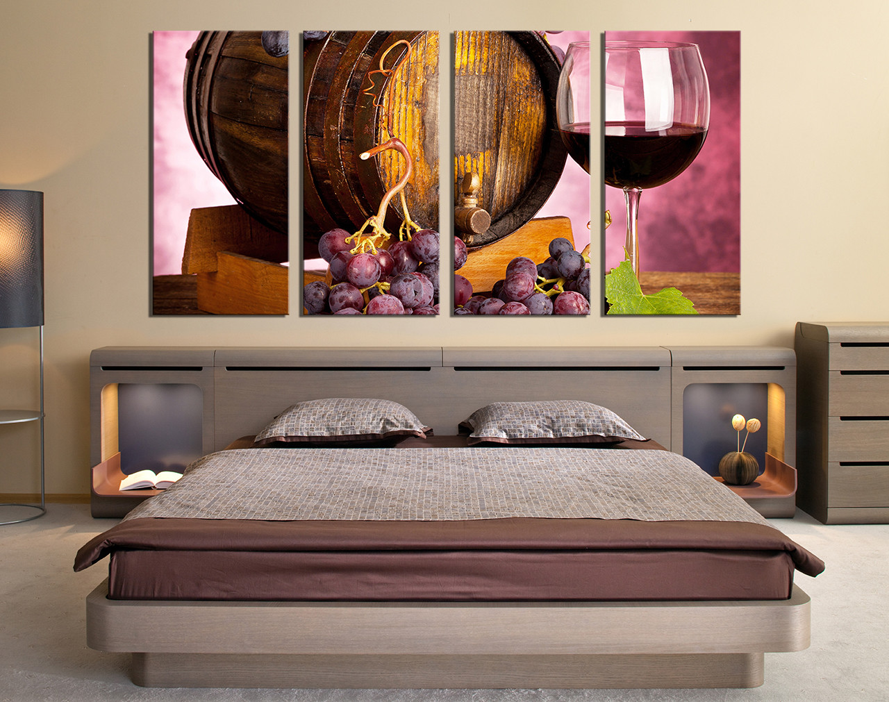 4 Piece Canvas Wall Art, Bedroom Wall Decor, Kitchen Multi Panel Art, Wine
