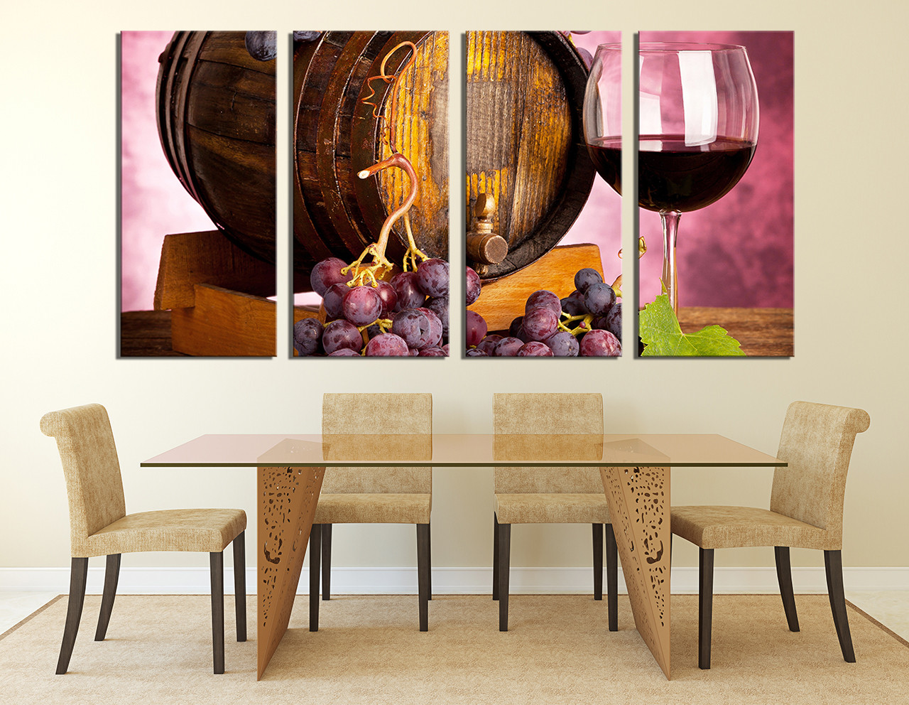 4 Piece Canvas Art Prints, Dining Room Art, Kitchen Canvas Print, Grapes  Canvas