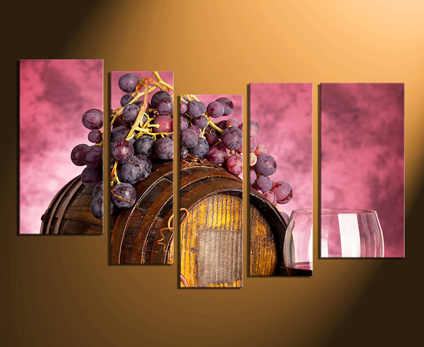 5 Piece Wall Art, Home Decor, Wine Multi Panel Art, Kitchen Canvas Print