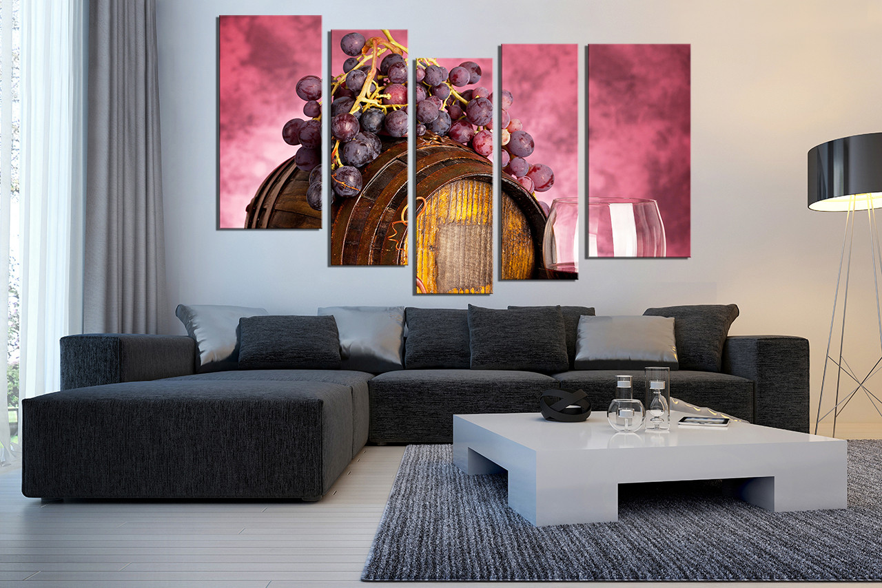 Wine Barrel Wall Decor 5 piece art, red wall decor, barrel artwork, grapes huge canvas