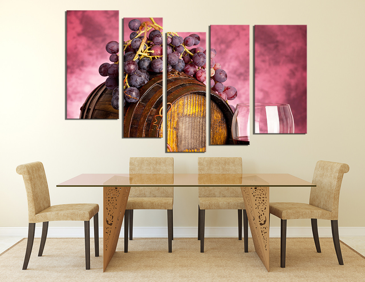 5 Piece Art Red Wall Decor Barrel Artwork Grapes Huge Canvas