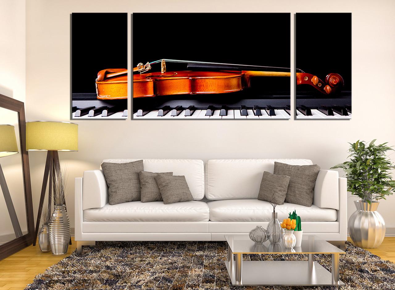 3 Piece Photo Canvas, Living Room Canvas Art Prints, Violin Wall Decor,  Piano