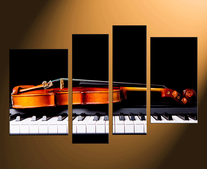 Well-known 4 Piece Canvas Photography, Violin Wall Art, Piano Huge Canvas Art  LK62