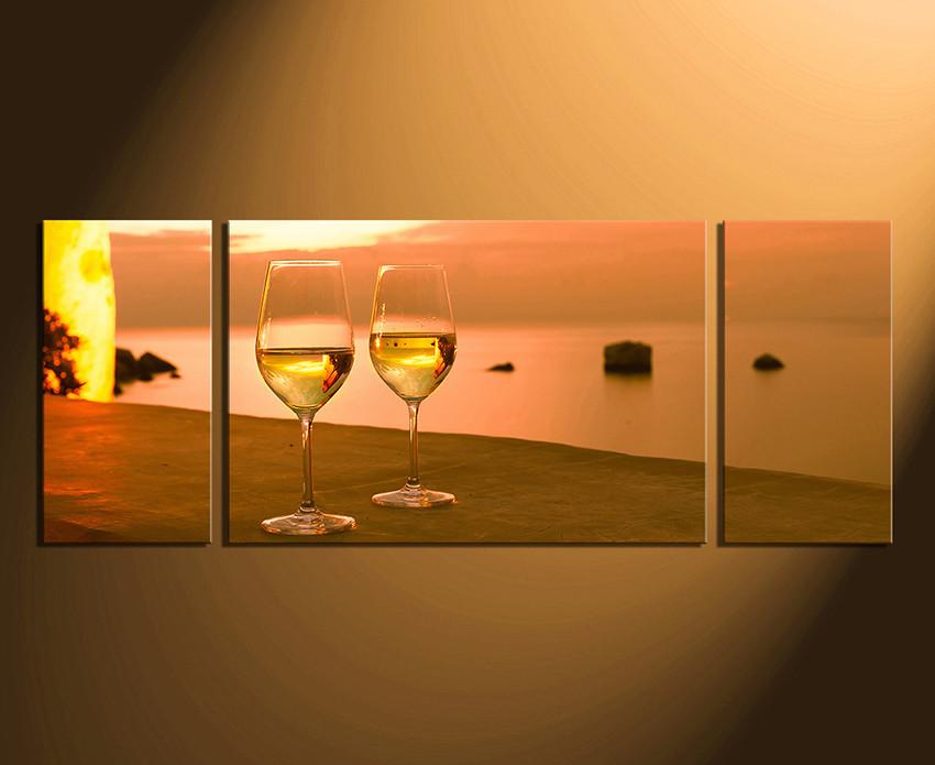 3 Piece Canvas Wall Art, White Wine Huge Canvas Print, Wine Glass ...
