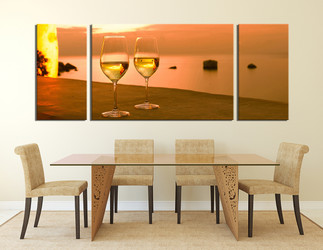 3 Piece Wall Art, dining room wall Art, wine multi panel art, wine glass wall art, panoramic huge pictures
