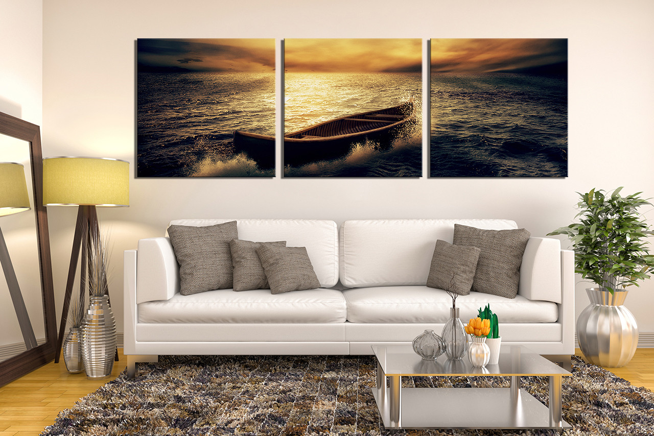3 piece group canvas, boat canvas wall art, panoramic multi panel