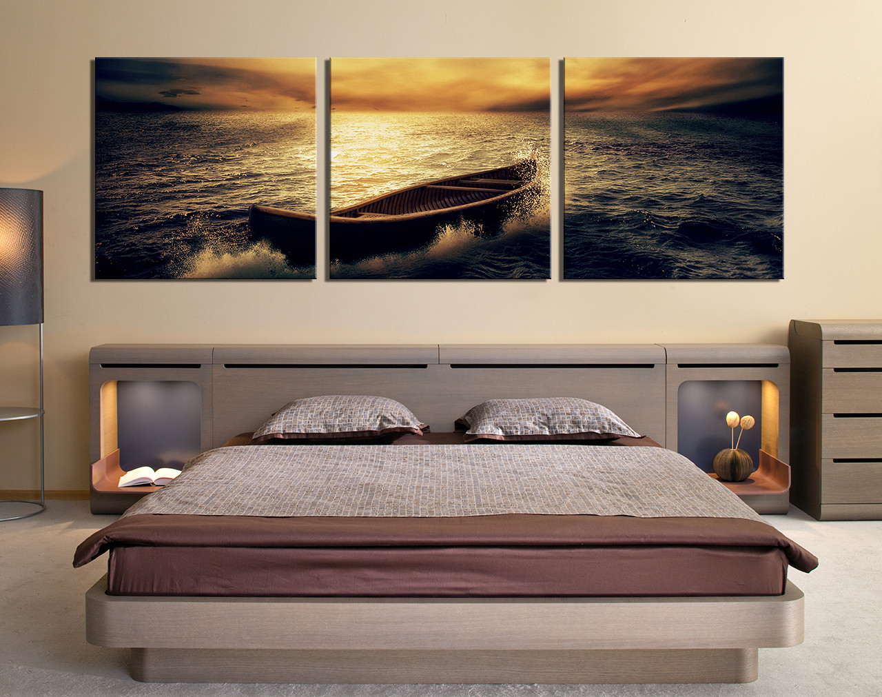 3 piece wall art  ocean pictures  bedroom wall decor  yellow art  boat. 3 Piece Group Canvas  Boat Canvas Wall Art  Panoramic Multi Panel