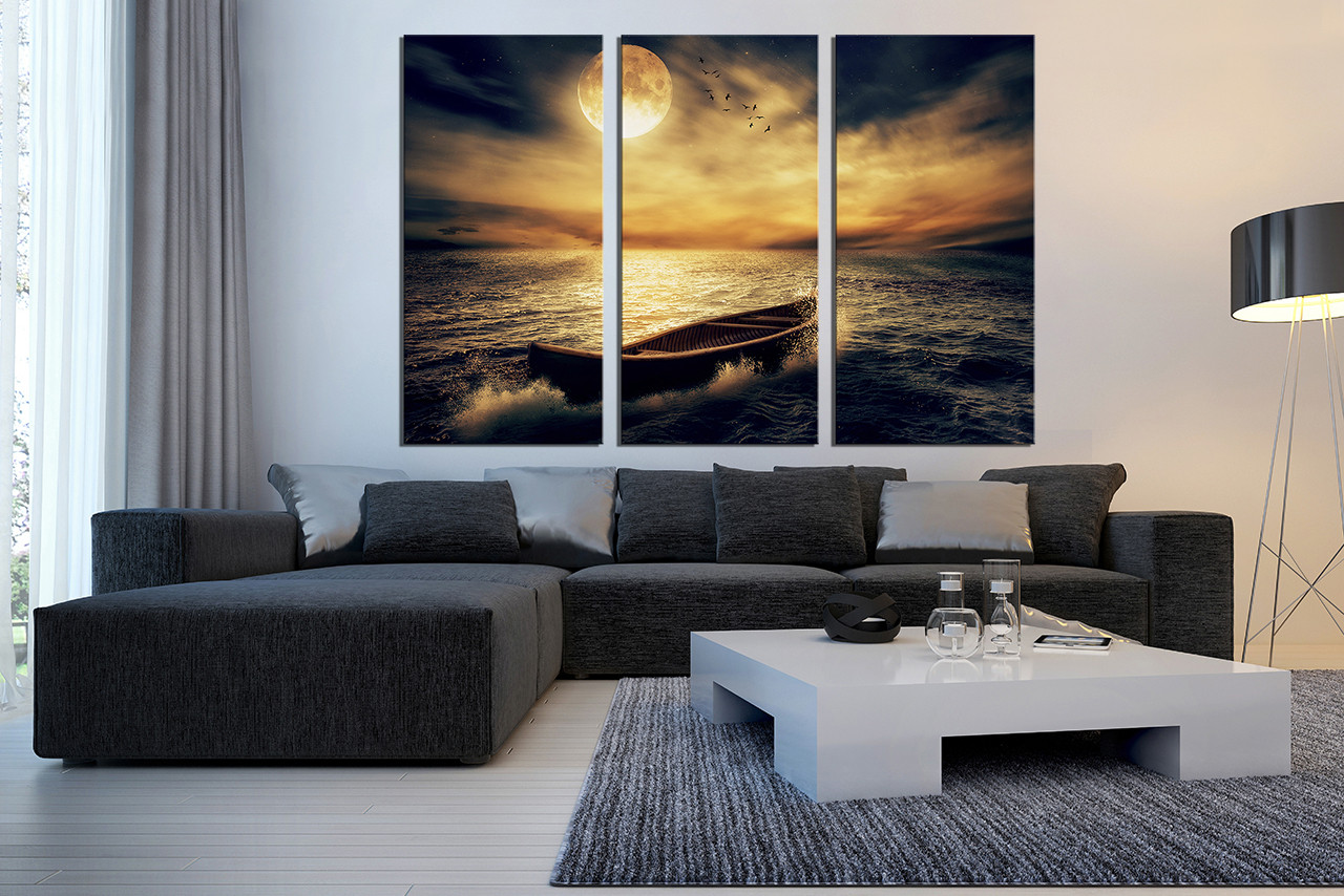 Multi Piece Canvas Wall Art 3 piece canvas wall art, boat huge pictures, ocean multi panel