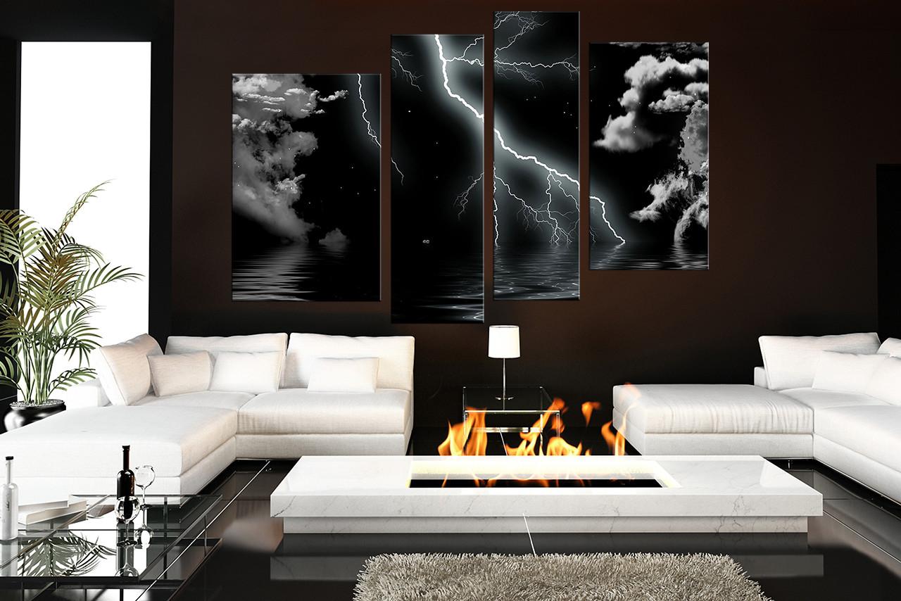4 Piece Multi Panel Art Thunderstorm Canvas Wall Art Modern Huge
