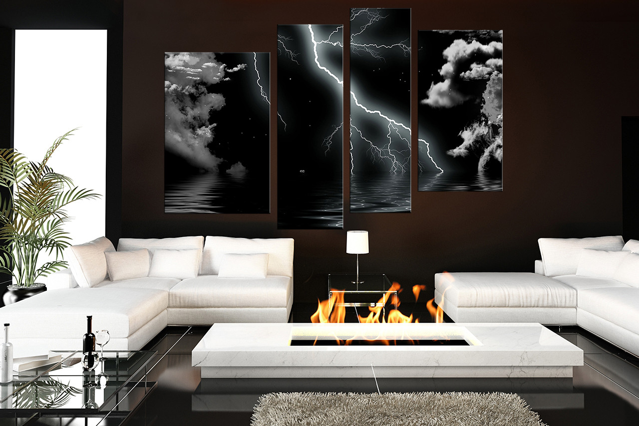 4 Piece Multi Panel Art Thunderstorm Canvas Wall Art Modern Huge Canvas Print Cloud Artwork