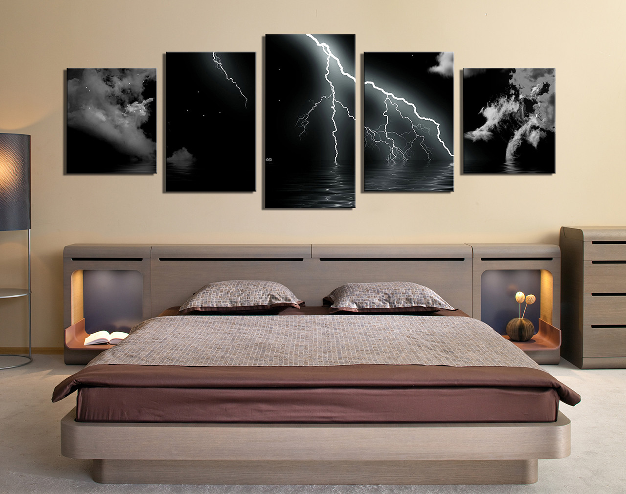5 Piece Large Pictures, Thunderstorm Art, Bedroom Multi Panel Art, Black  Modern Photo