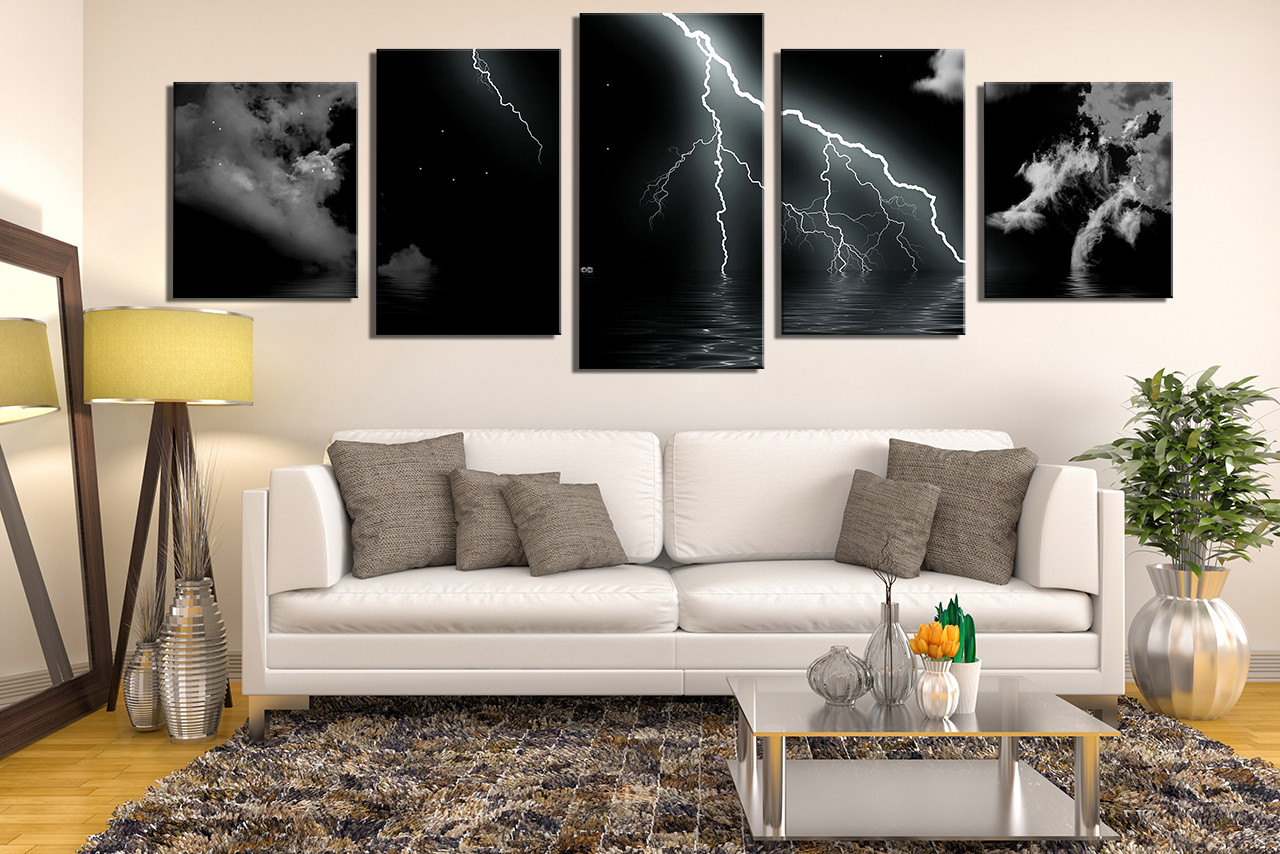 5 piece canvas wall art living room huge canvas wall art black modern photo & 5 Piece Large Canvas Modern Huge Canvas Art Cloud Art Panoramic ...