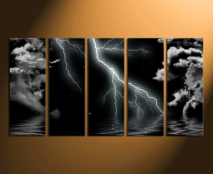 5 piece photo canvas home decor artwork abstract black multi panel canvas modern