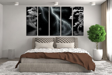 5 Piece Large Pictures, Abstract Art, Bedroom Multi Panel Art, Black  Abstract Photo