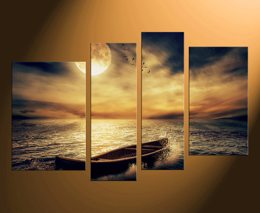 4 Piece Huge Canvas Art, Yellow Sea Wall Decor, Ocean Canvas ...