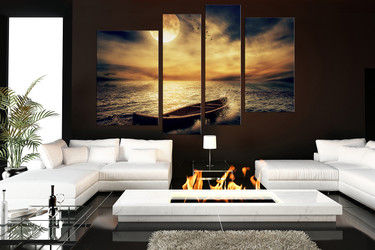 4 piece canvas wall art, living room art, yellow ocean decor, moon pictures, cloud group canvas