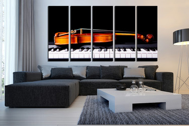 5 piece huge canvas print, living room canvas photography, violin art, piano multi panel canvas, brown musical instruments canvas photography