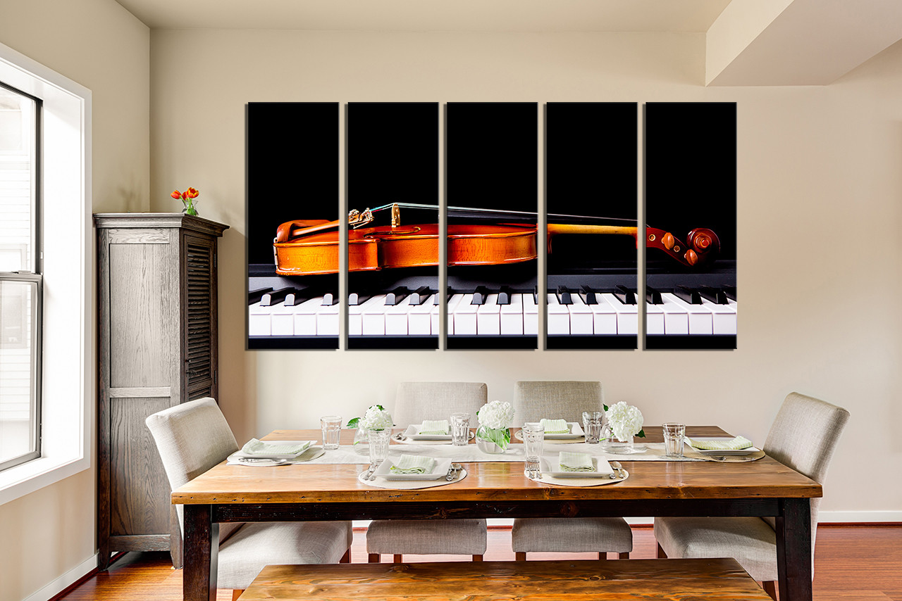 5 Piece Group Canvas, Dining Room Canvas Art Prints, Violin Huge Pictures,  Piano