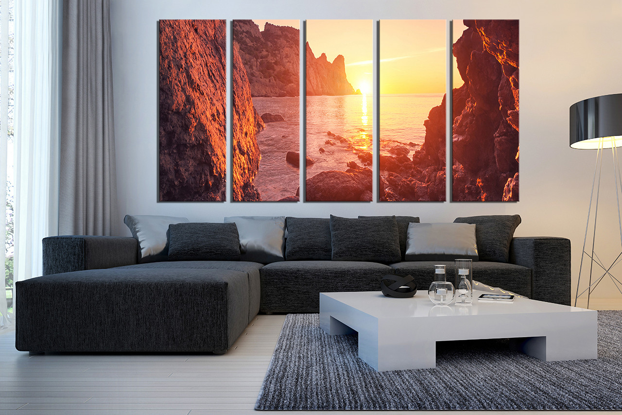5 Piece Canvas Wall Art, Living Room Artwork, Orange Sunrise Artwork,  Mountain Huge